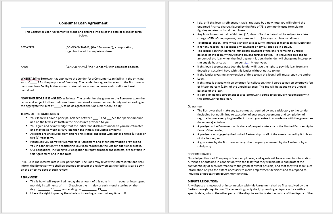 Consumer Loan Agreement Template – Microsoft Word Templates Regarding Free Installment Loan Agreement Template