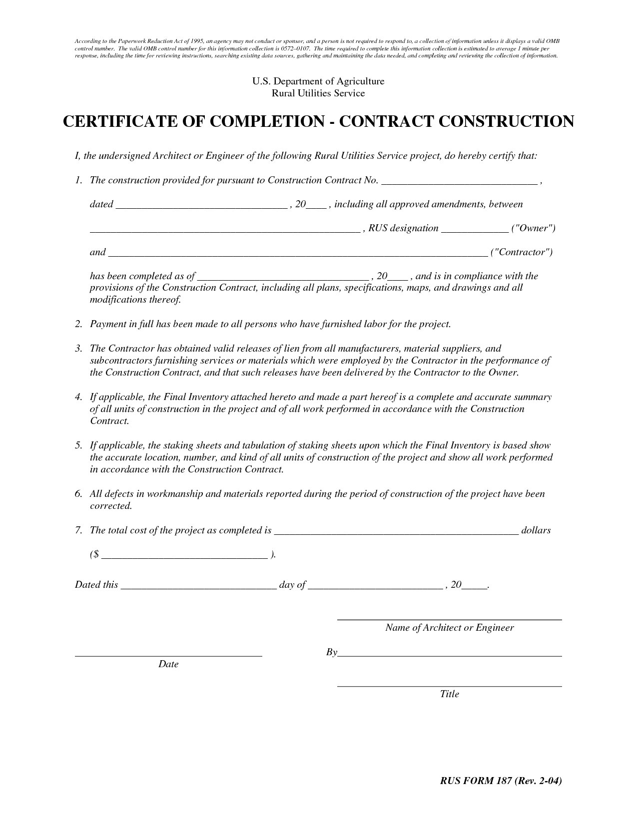 Contractor Certificate Of Completion  Freedomapkhere Throughout Certificate Of Completion Construction Templates
