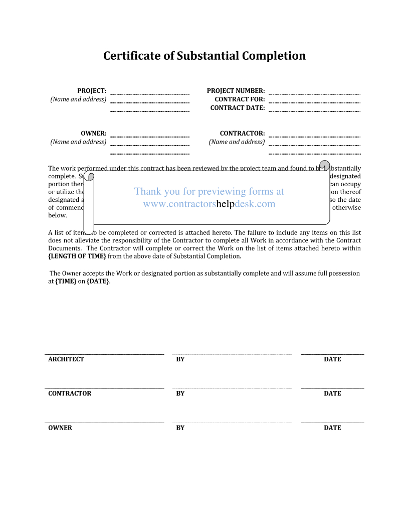 Contractors Help Desk  Forms With Certificate Of Substantial Completion Template
