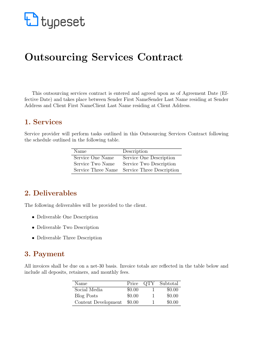 Contracts  Outsourcing Services Contract Template Template Inside Outsourcing Contract Templates