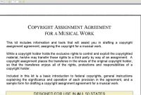 Copyright Assignment Agreement For A Musical Work with regard to Copyright Assignment Agreement Template