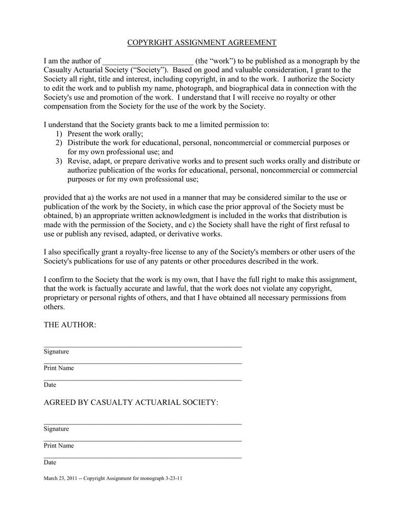 Copyright Assignment Agreement Inside Copyright Assignment Agreement Template
