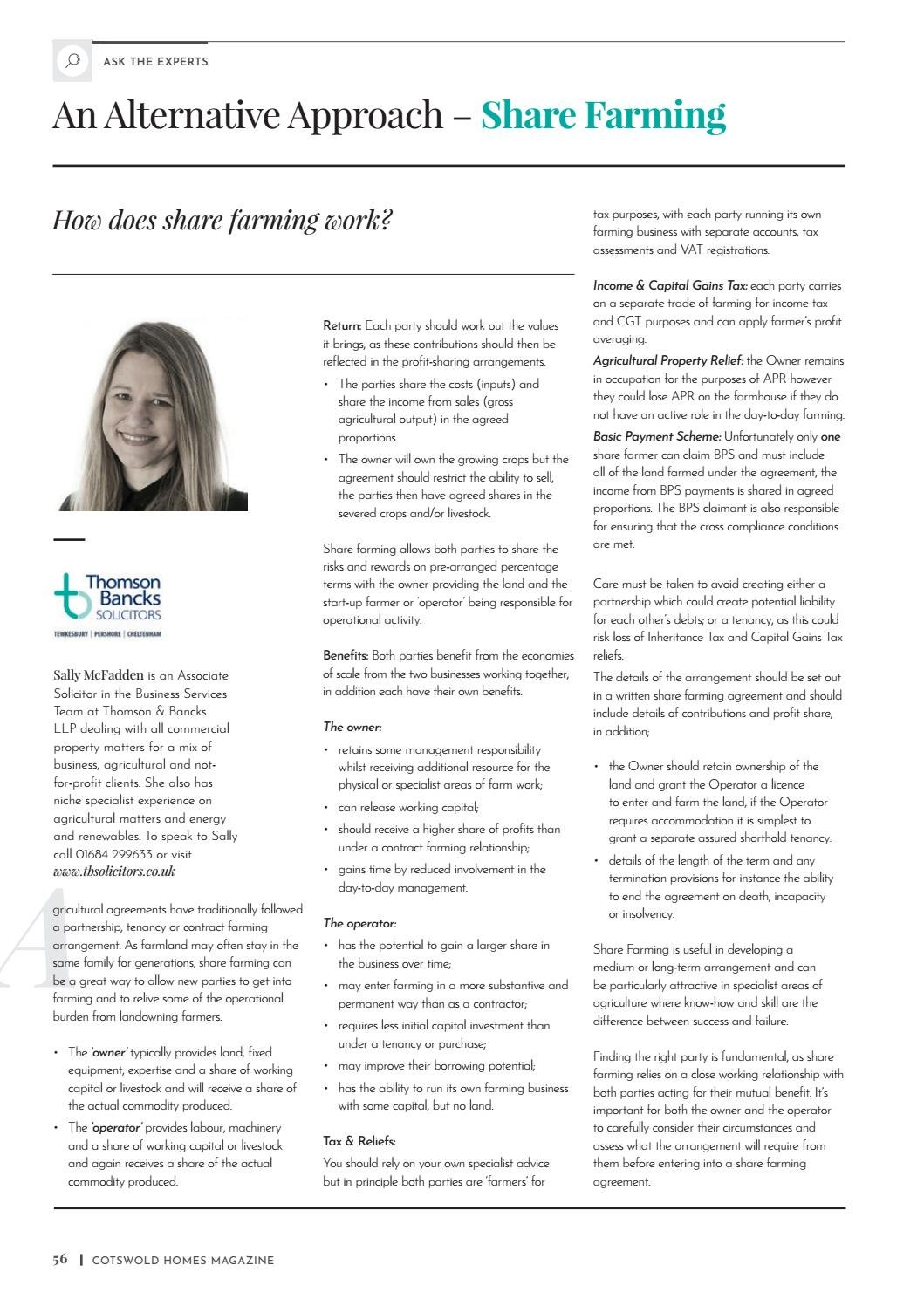Cotswold Homes Spring  Edition Inside Share Farming Agreement Template