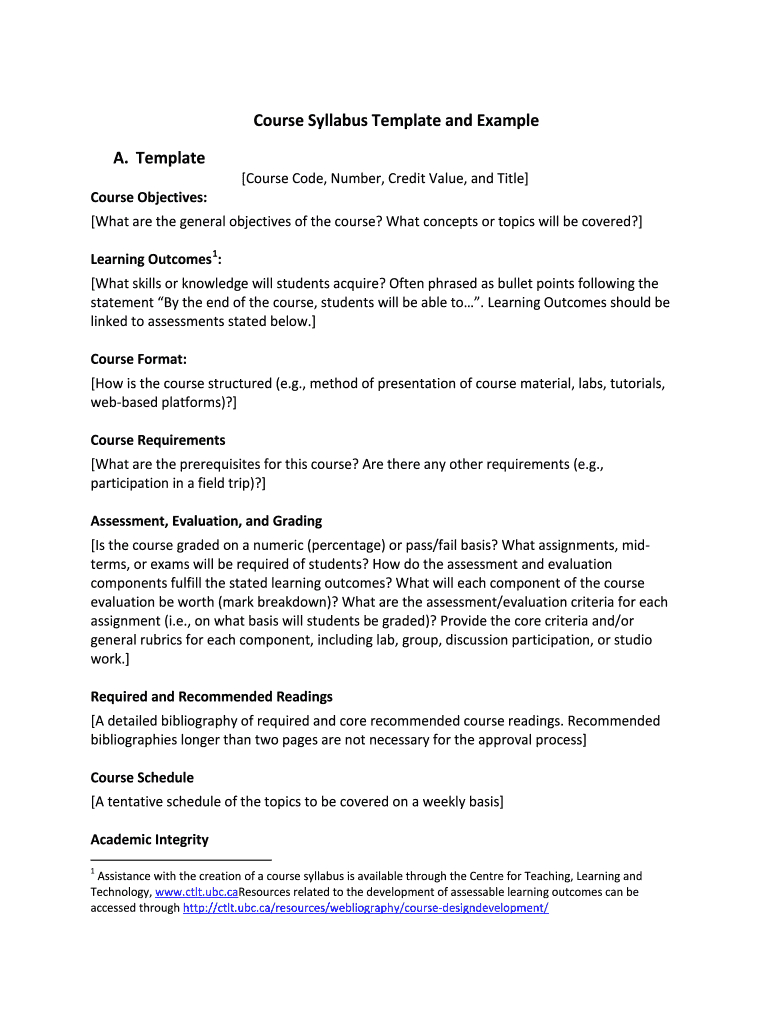 Course Syllabus Template And Example Fill Online Printable Inside Blank Syllabus Template