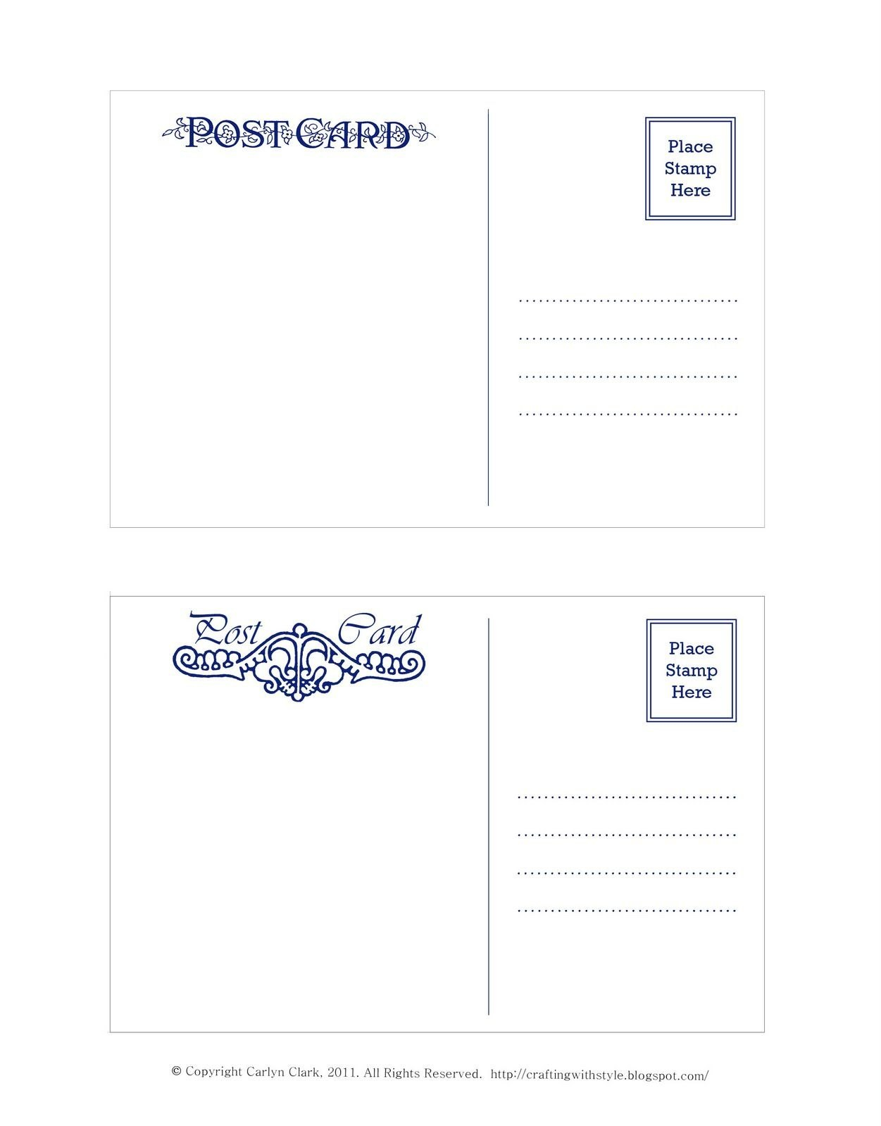 Crafting With Style Free Postcard Templates  Postcards  Postcard With Regard To Post Cards Template