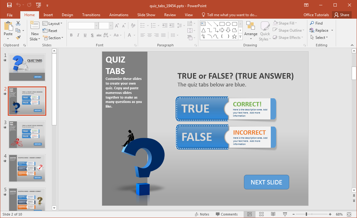 Create A Quiz In Powerpoint With Quiz Tabs Powerpoint Template Intended For Powerpoint Quiz Template Free Download