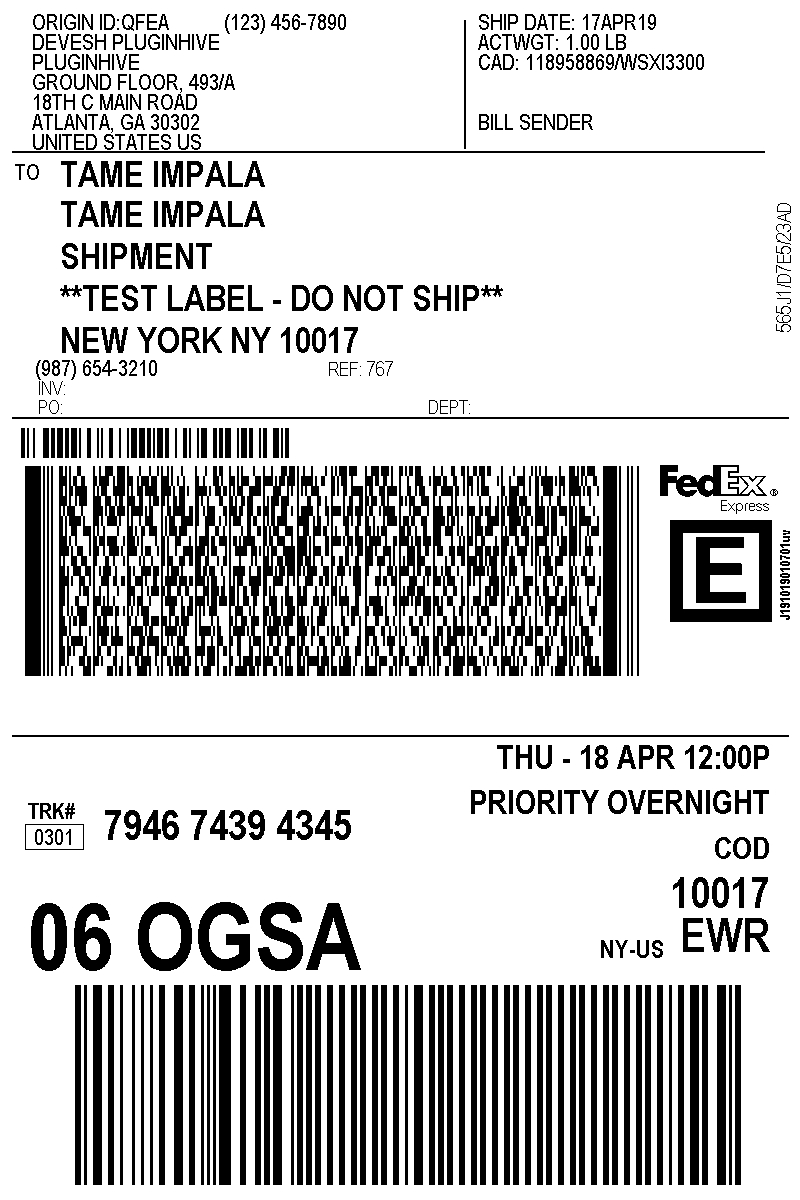 Create Fedex Shipping Label From Your Online Store  Pluginhive Throughout Package Address Label Template