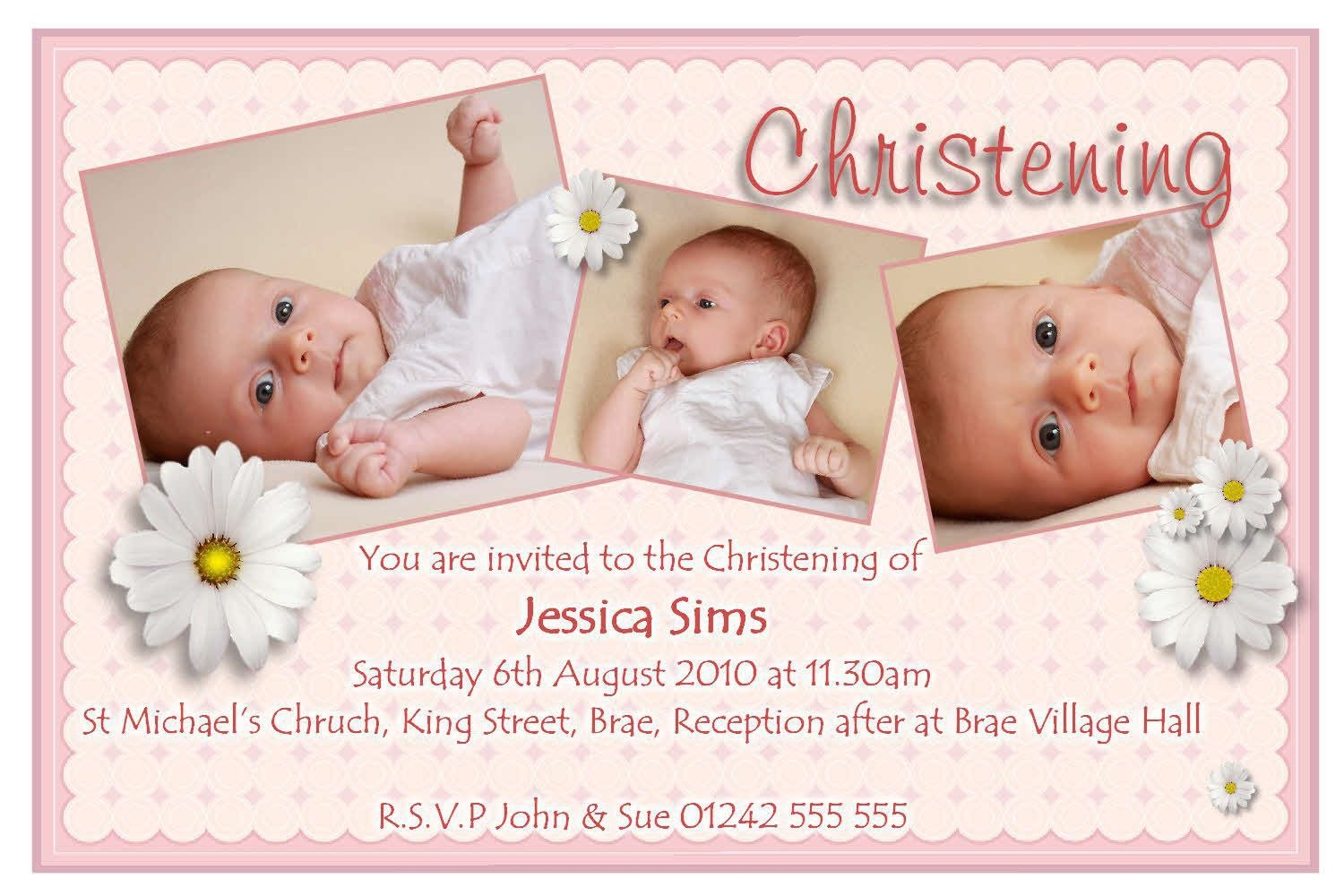 Create Your Own Christening Invitation For Baby Girl Blank Pertaining To Baptism Invitation Card Template