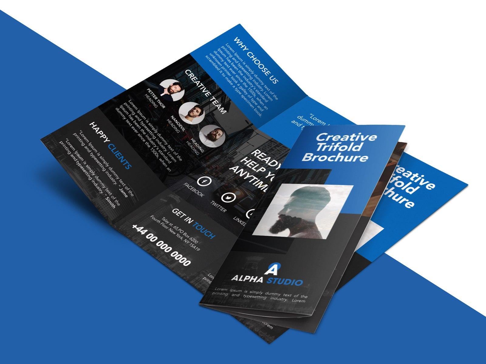 Creative Agency Trifold Brochure Free Psd Template  Psdfreebies In Tri Fold Menu Template Photoshop