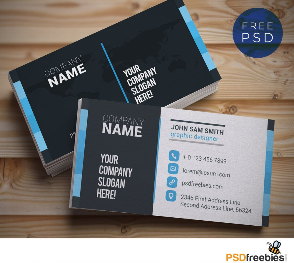 Creative And Clean Business Card Template Psd  Psdfreebies With Name Card Template Photoshop
