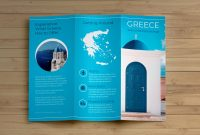 Creative Blue Greece Travel Trifold Brochure Idea  Venngage pertaining to Island Brochure Template