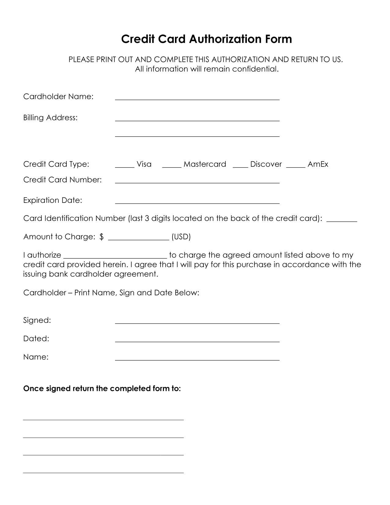 Credit Card Authorization Form Template Download Pdf Word Within Authorization To Charge Credit Card Template