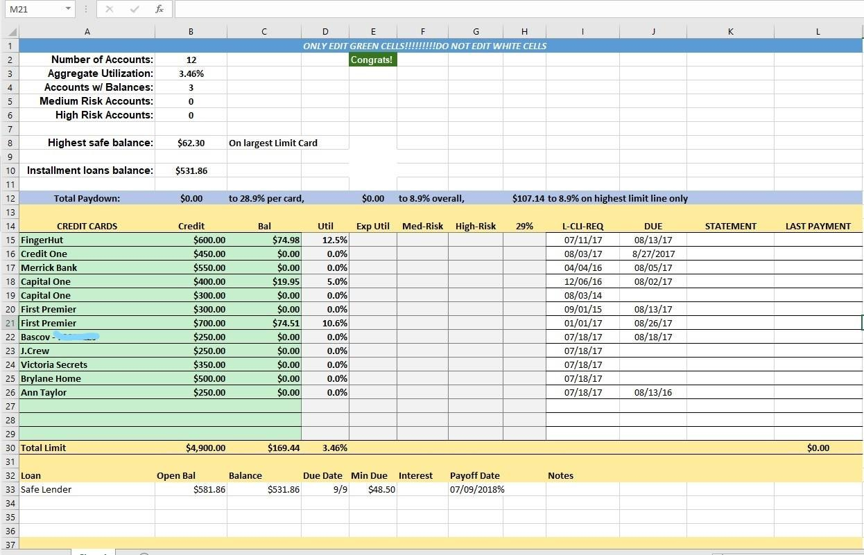 Credit Card Utilization Tracking Spreadsheet  Credit Warriors For Credit Card Payment Spreadsheet Template