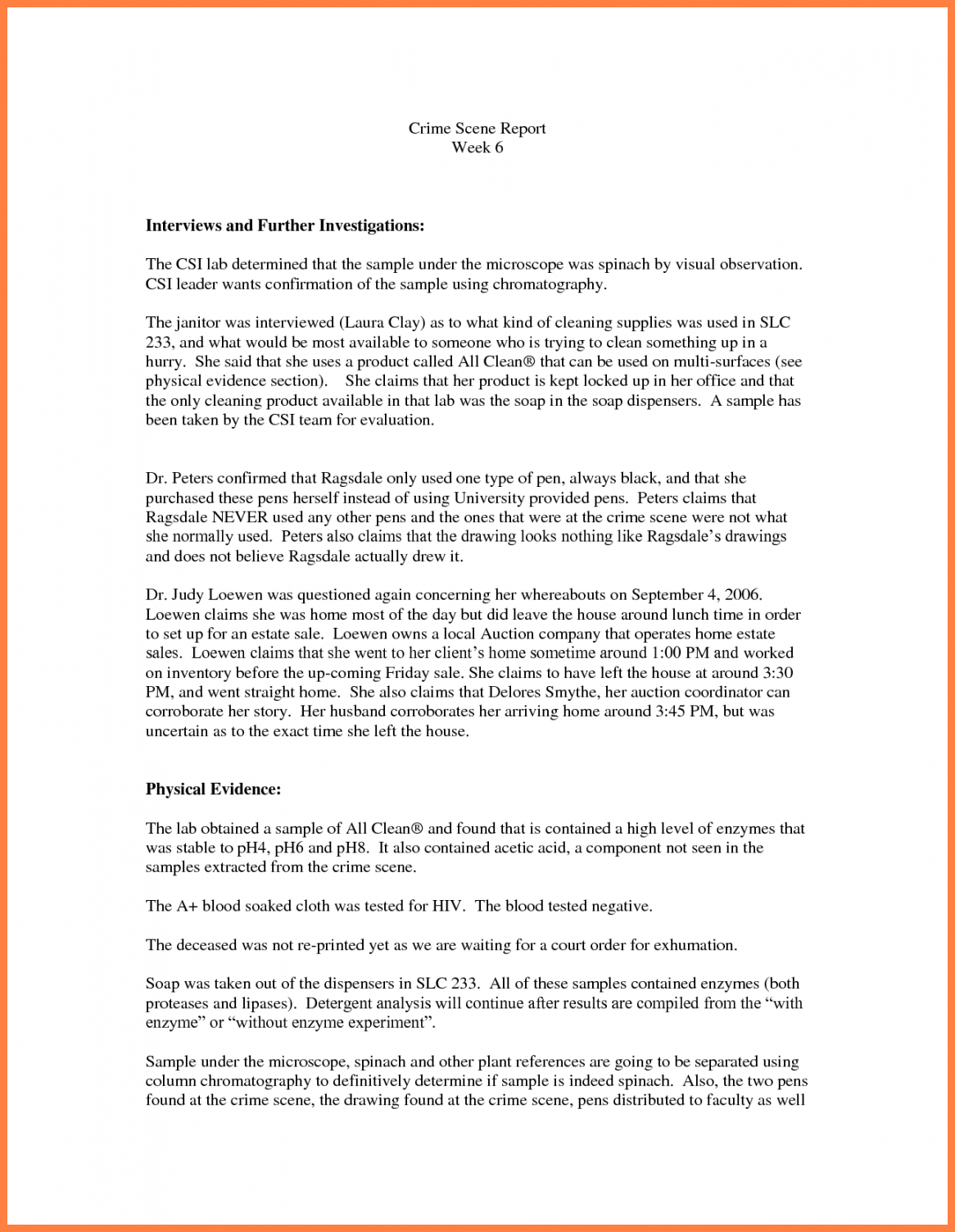 Criminal Investigation Report Template Inside Crime Scene Report Template