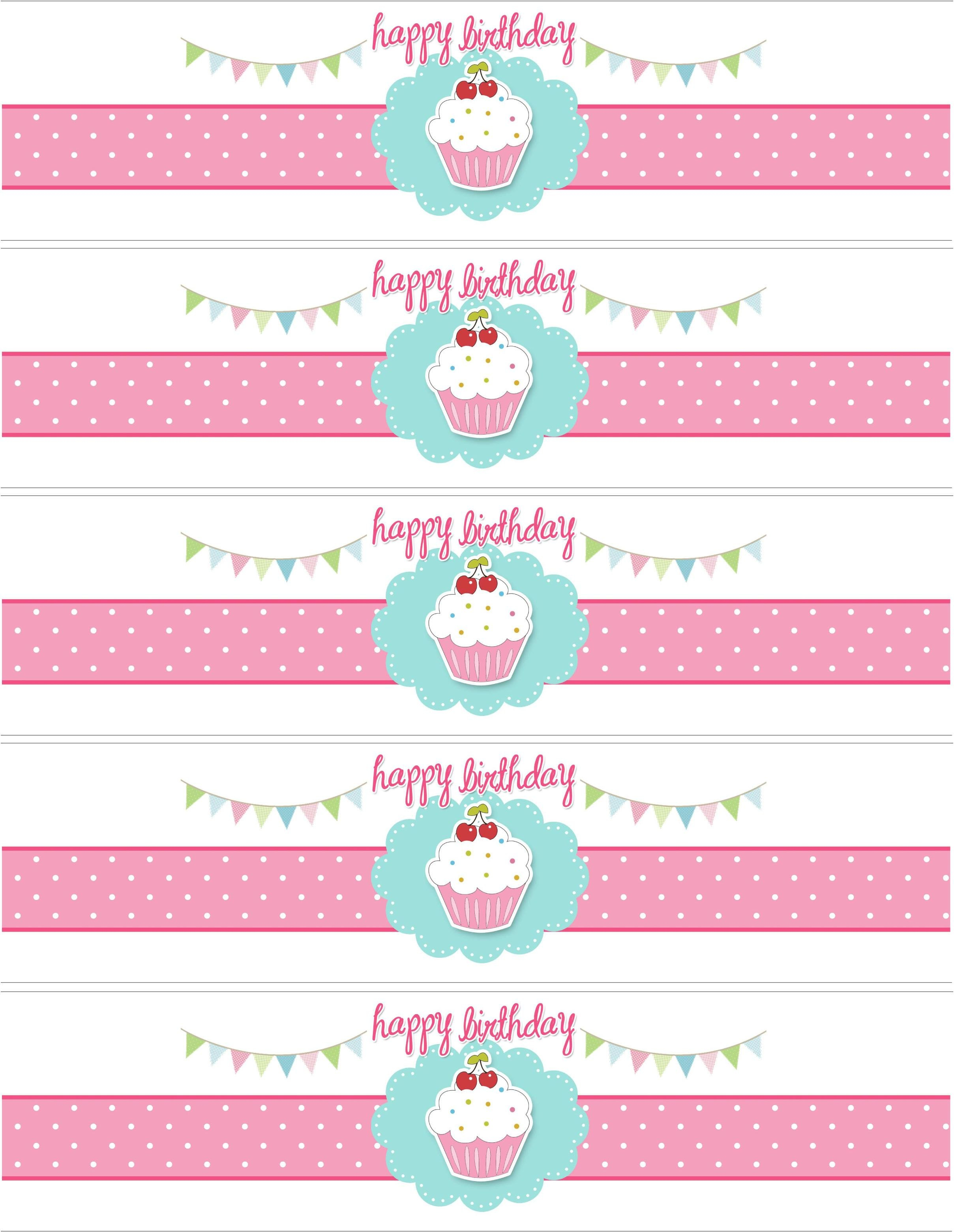 Cupcake Birthday Party With Free Printables  Party Ideas For Free Printable Water Bottle Labels Template
