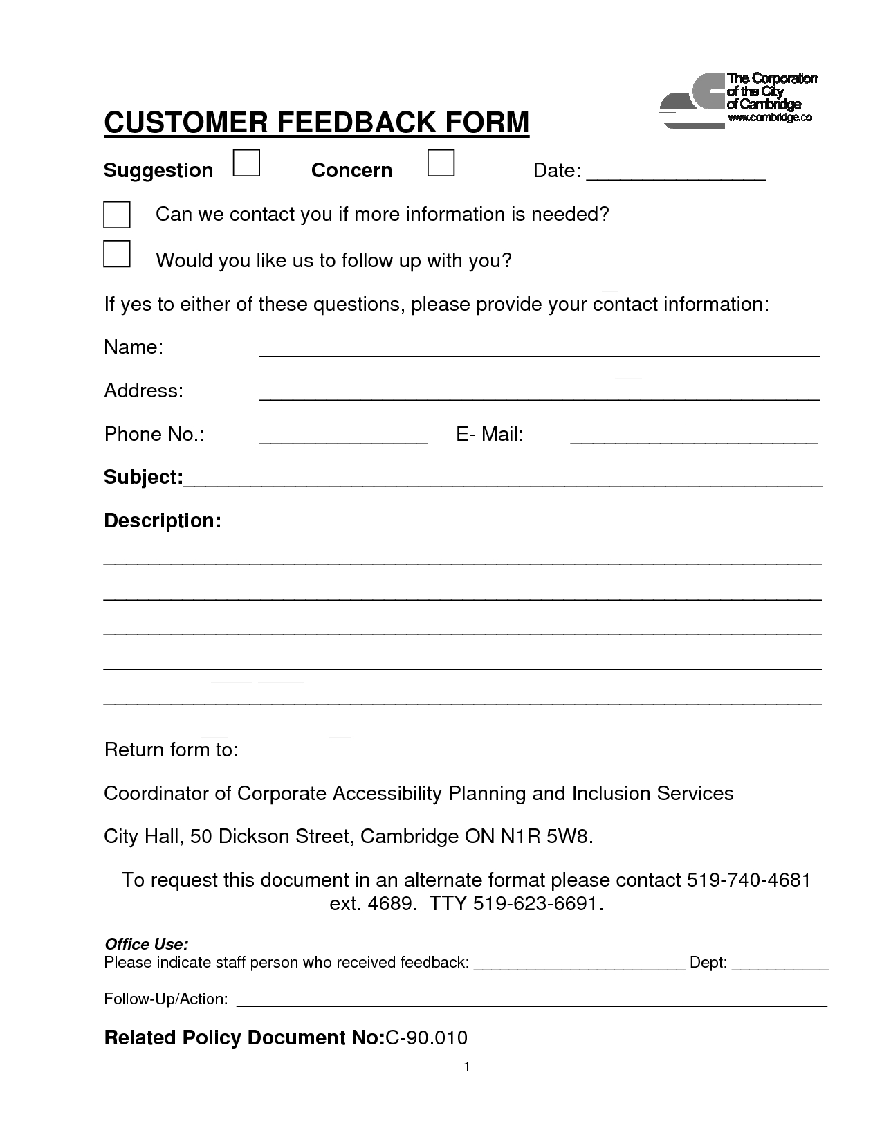Customer Contact Form  Customer Feedback Form Pdf Download Was Intended For Word Employee Suggestion Form Template