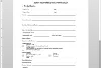 Customer Contact Worksheet Template throughout Section 7 Report Template
