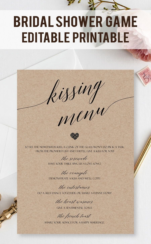 Customizable Kissing Menu Cards Printable Kissing Games Wedding Intended For Fun Menu Templates