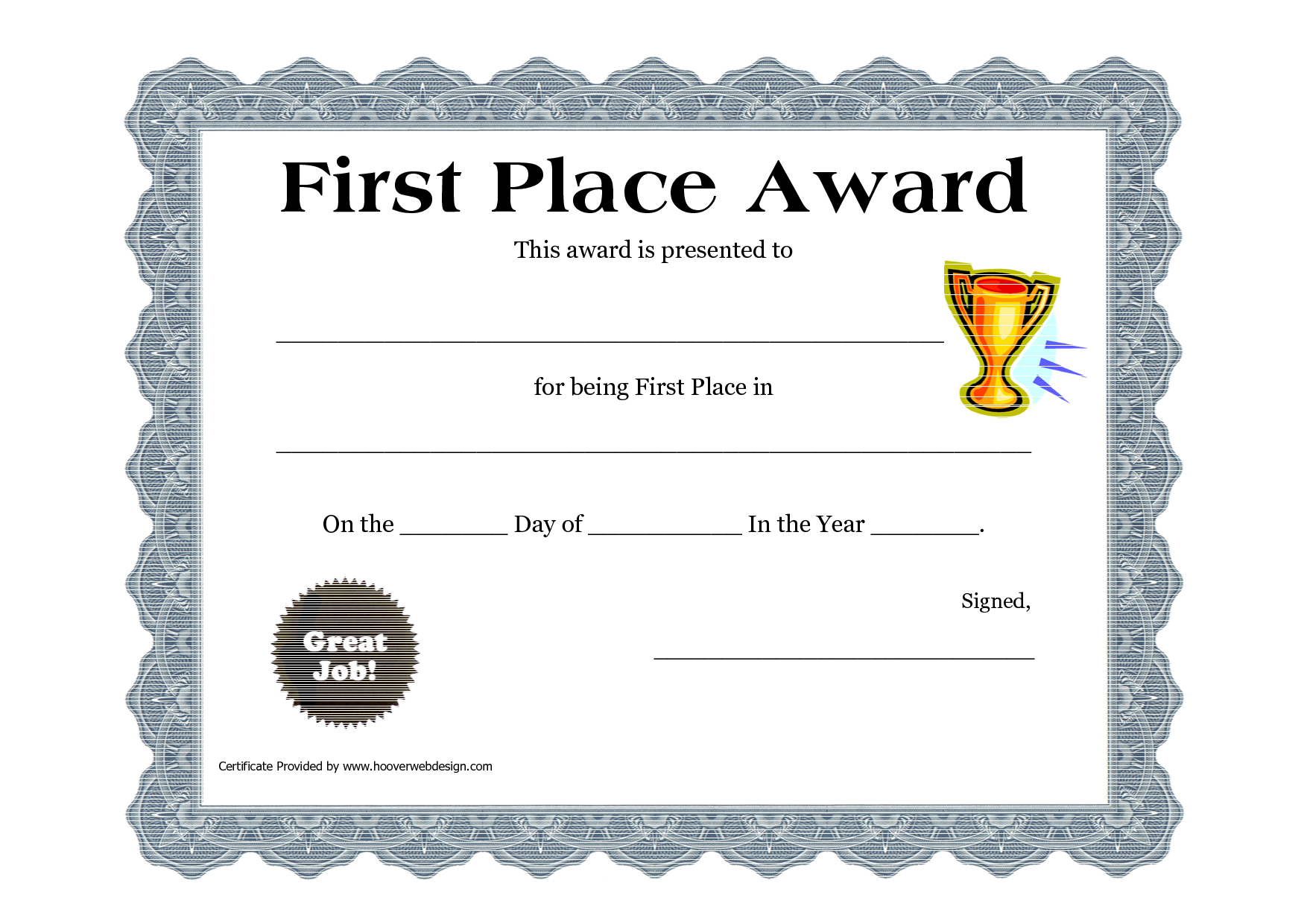 Customizable Printable Certificates  First Place Award Printable Pertaining To First Place Award Certificate Template