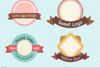Cute And Sweet Pastel Vintage Premium Logo Stock Illustration inside Sweet Labels Template