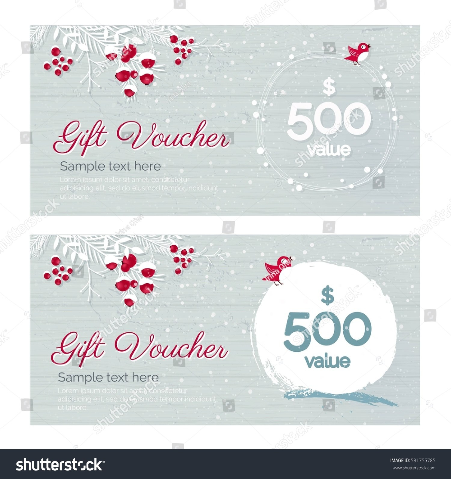 Cute Hand Drawn Christmas Gift Voucher Stock Vector Royalty Free Inside Merry Christmas Gift Certificate Templates