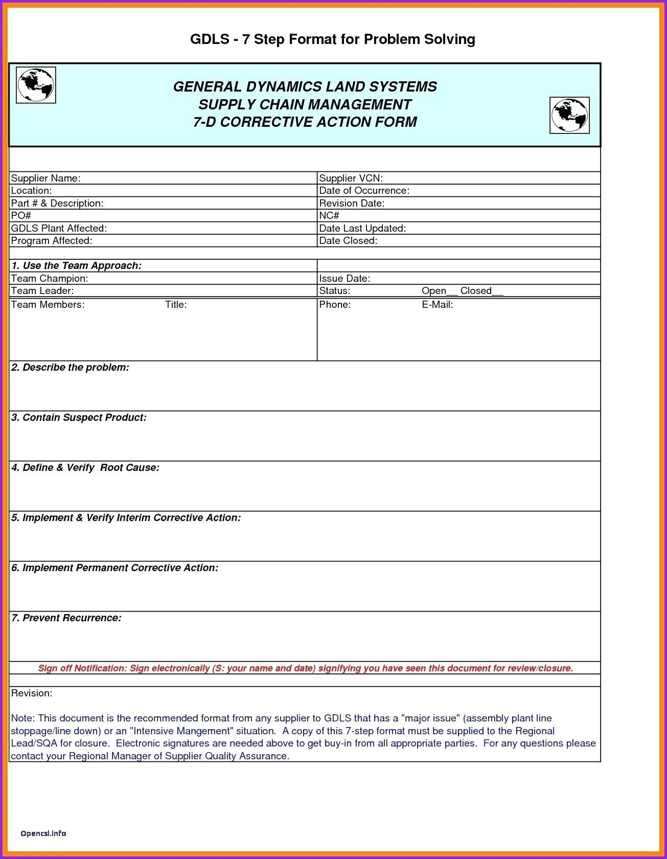 D Report Vorlage Excel Dann Corrective Action Form Corrective Intended For Corrective Action Report Template