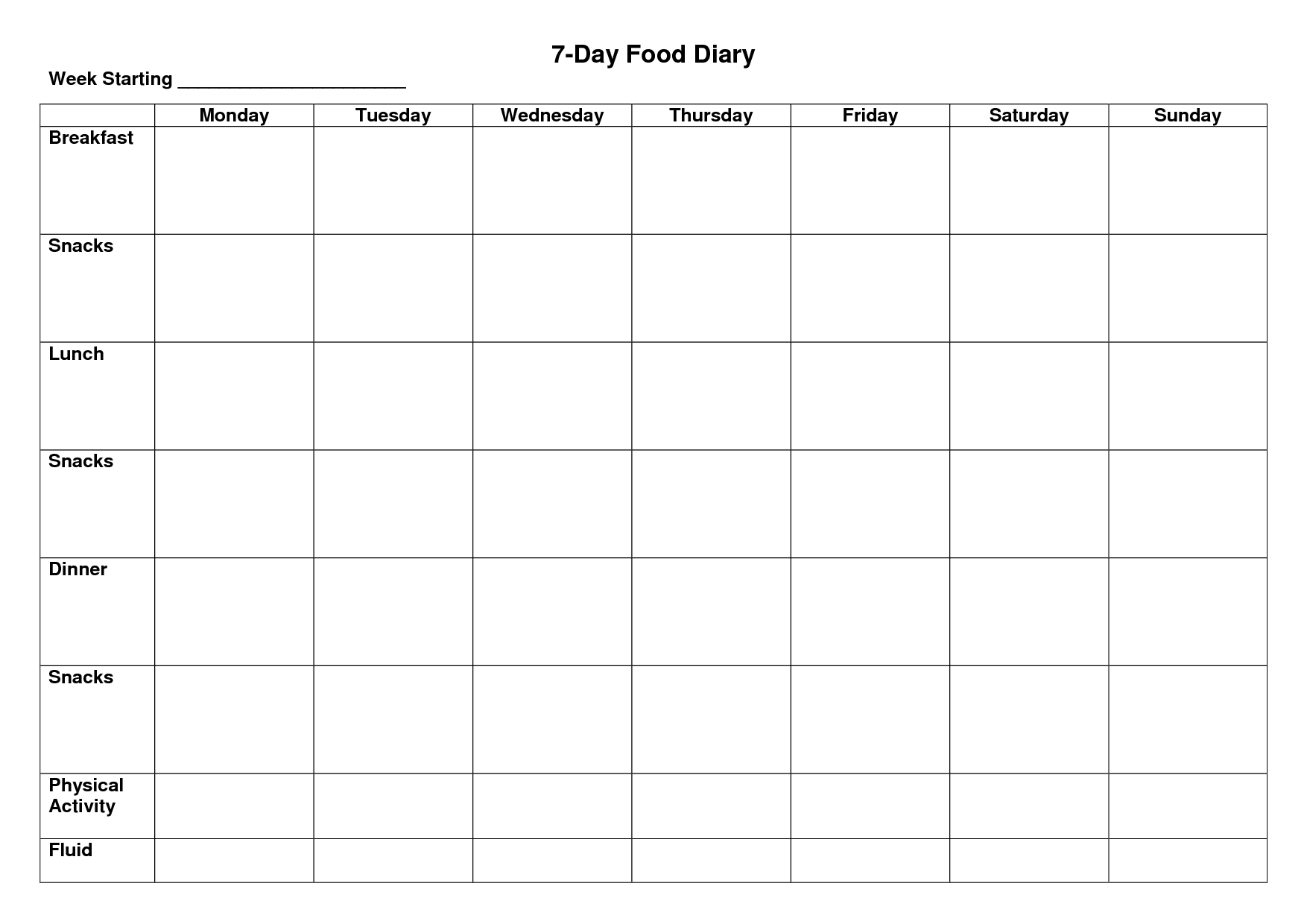 Day Food Diary Template  Diet Plans In   Food Diary Diary Pertaining To 7 Day Menu Planner Template