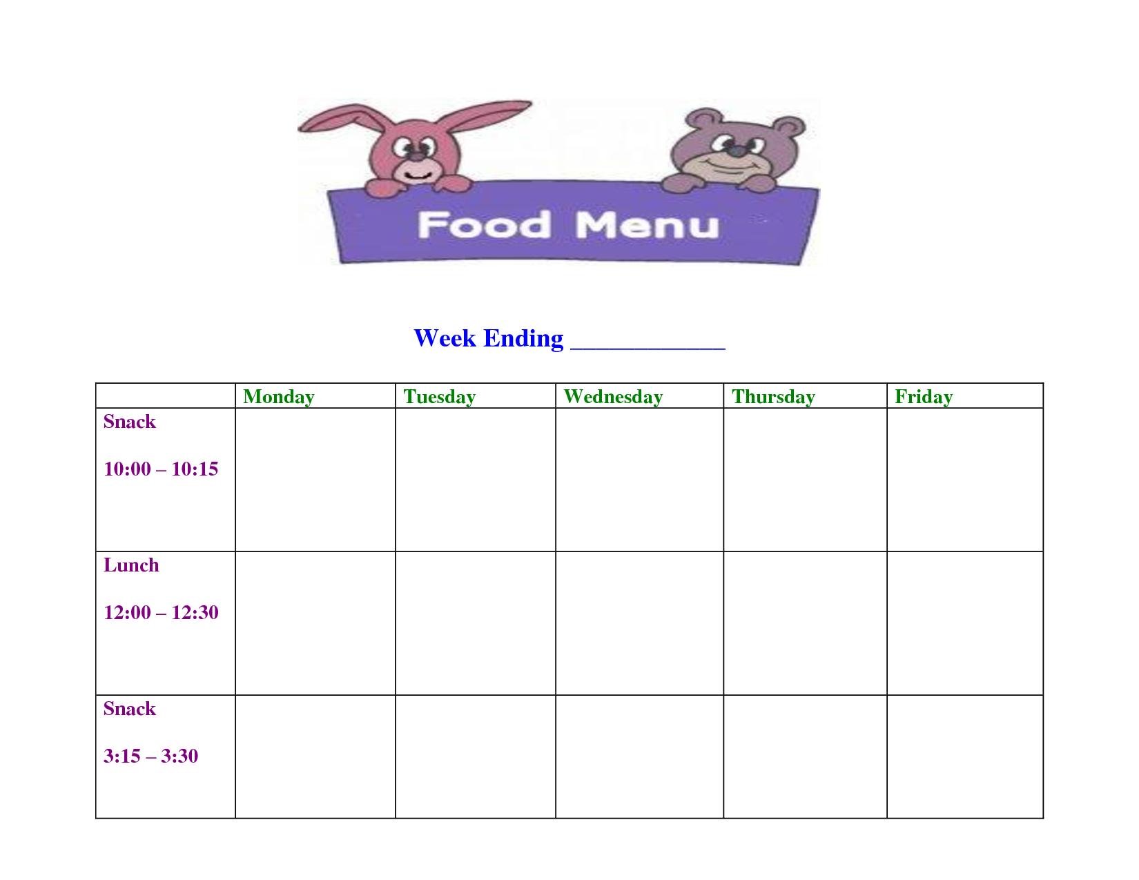 Daycareblankmenutemplate  Layouts  Daycare Menu Weekly Menu Inside Free School Lunch Menu Templates