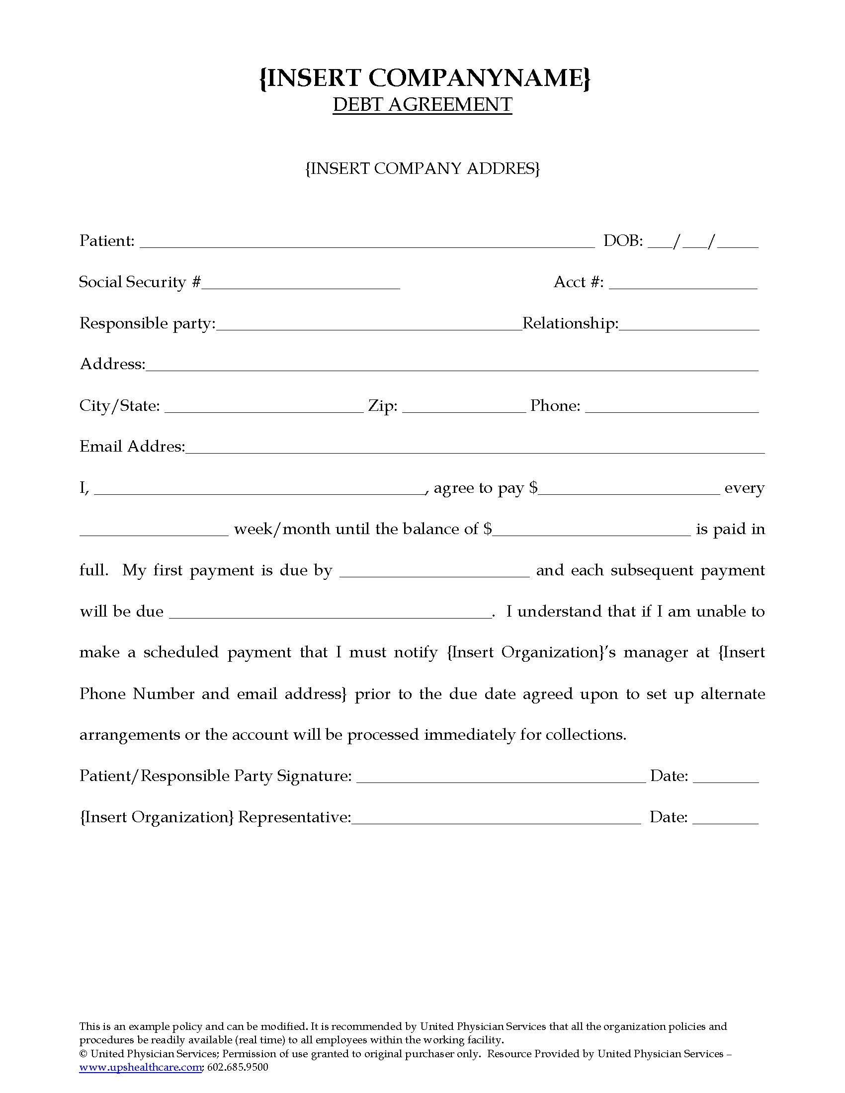 Debt Agreement  United Physician Services For Debt Agreement Templates