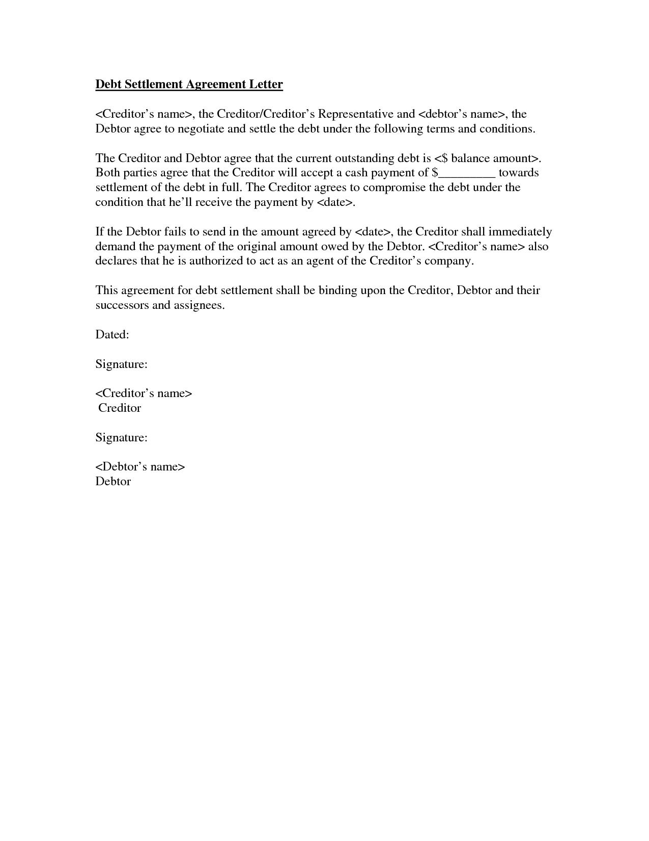 Debt Settlement Agreement Letter Template Collection Intended For Debt Settlement Agreement Letter Template