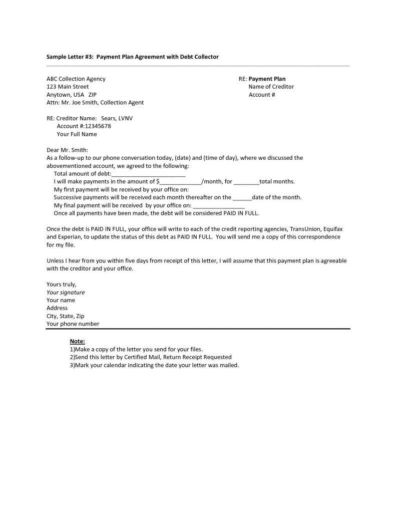 Debt Settlement Agreement Letter Template Samples  Letter Cover Inside Debt Settlement Agreement Letter Template