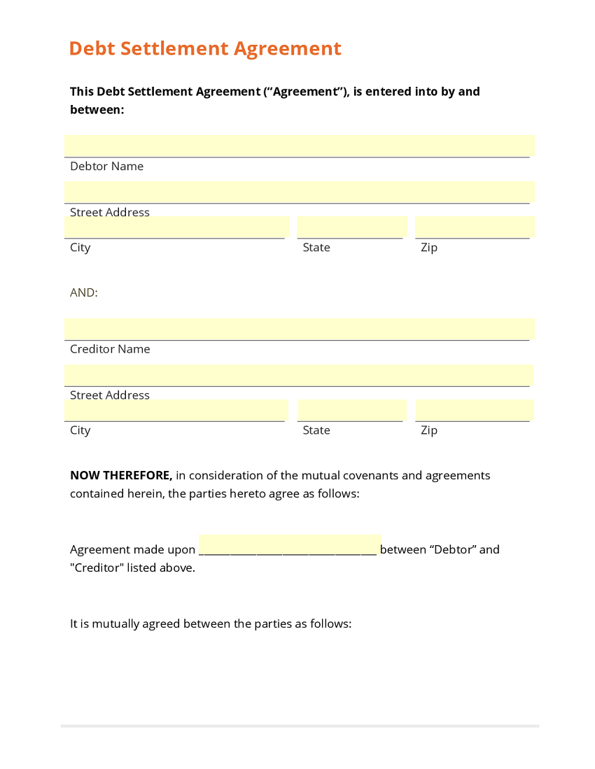 Debt Settlement Letter Sample Settlement Agreement Form Debt Regarding Free Debt Settlement Agreement Template