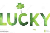 Decorative Word `lucky` With Cute Clover Symbol Stock Illustration in Good Luck Banner Template
