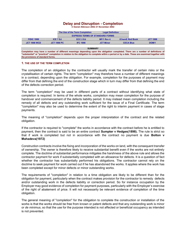 Delay And Disruption  Completion Within Practical Completion Certificate Template Jct