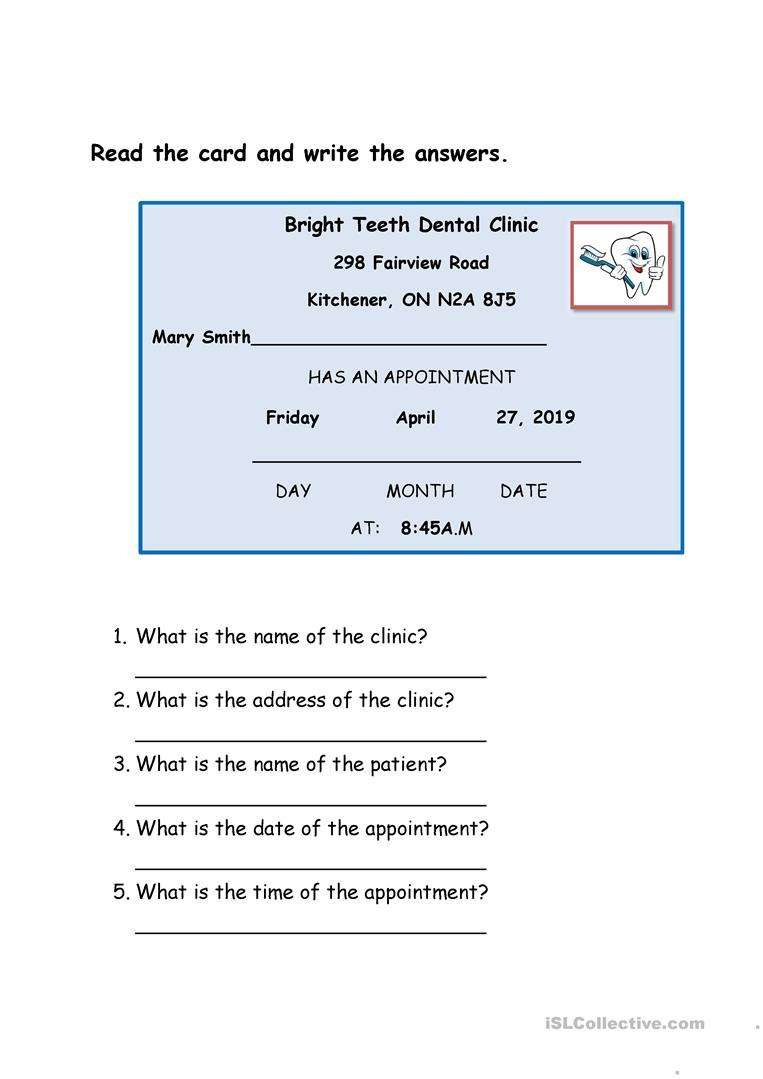 Dentist Appointment Card Worksheet  Free Esl Printable Worksheets With Regard To Dentist Appointment Card Template