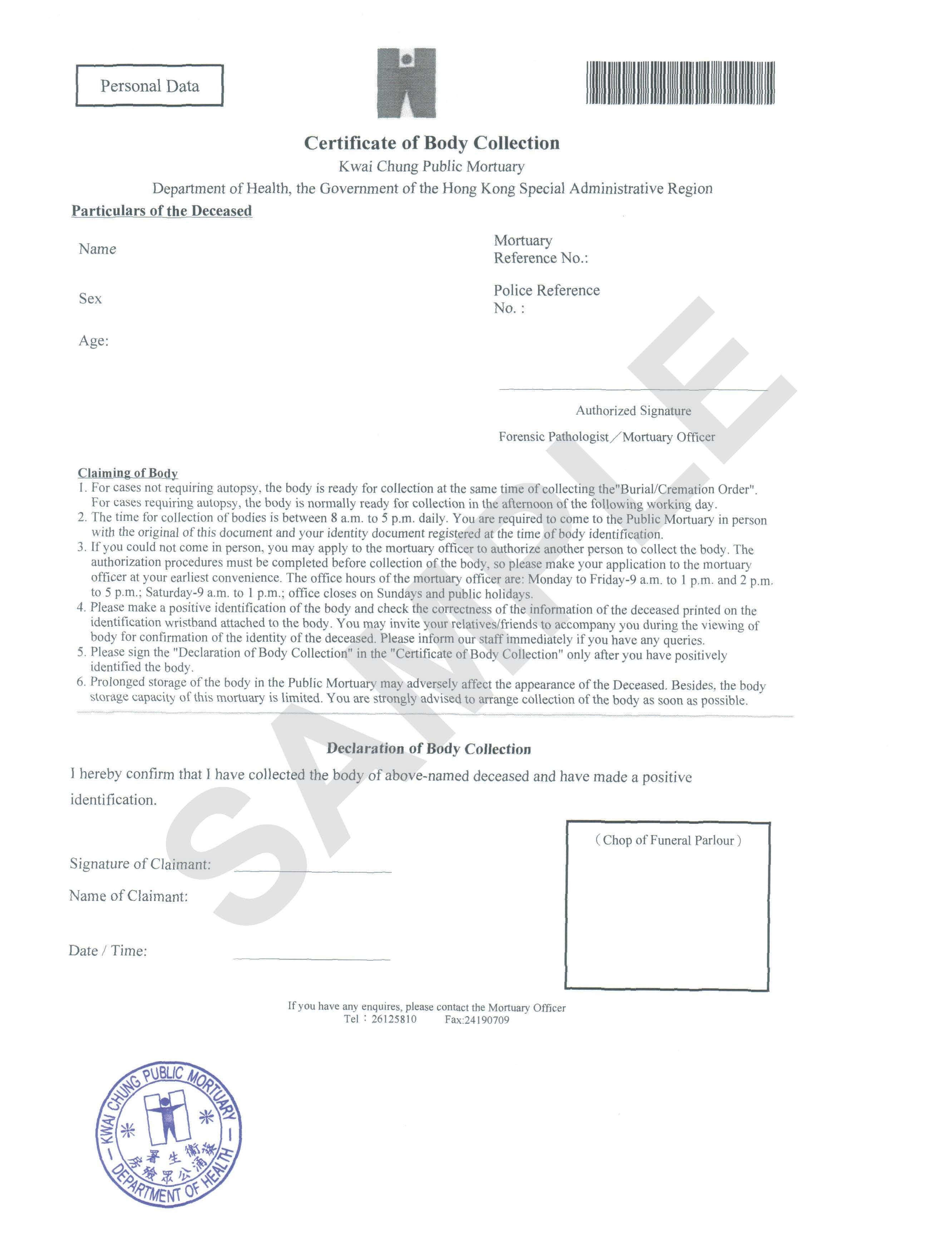 Department Of Health  Forensic Pathology Service  Faq With Certificate Of Disposal Template