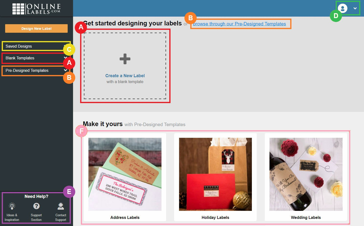 Design Interface  Maestro Label Designer  Onlinelabels Regarding Maestro Labels Templates