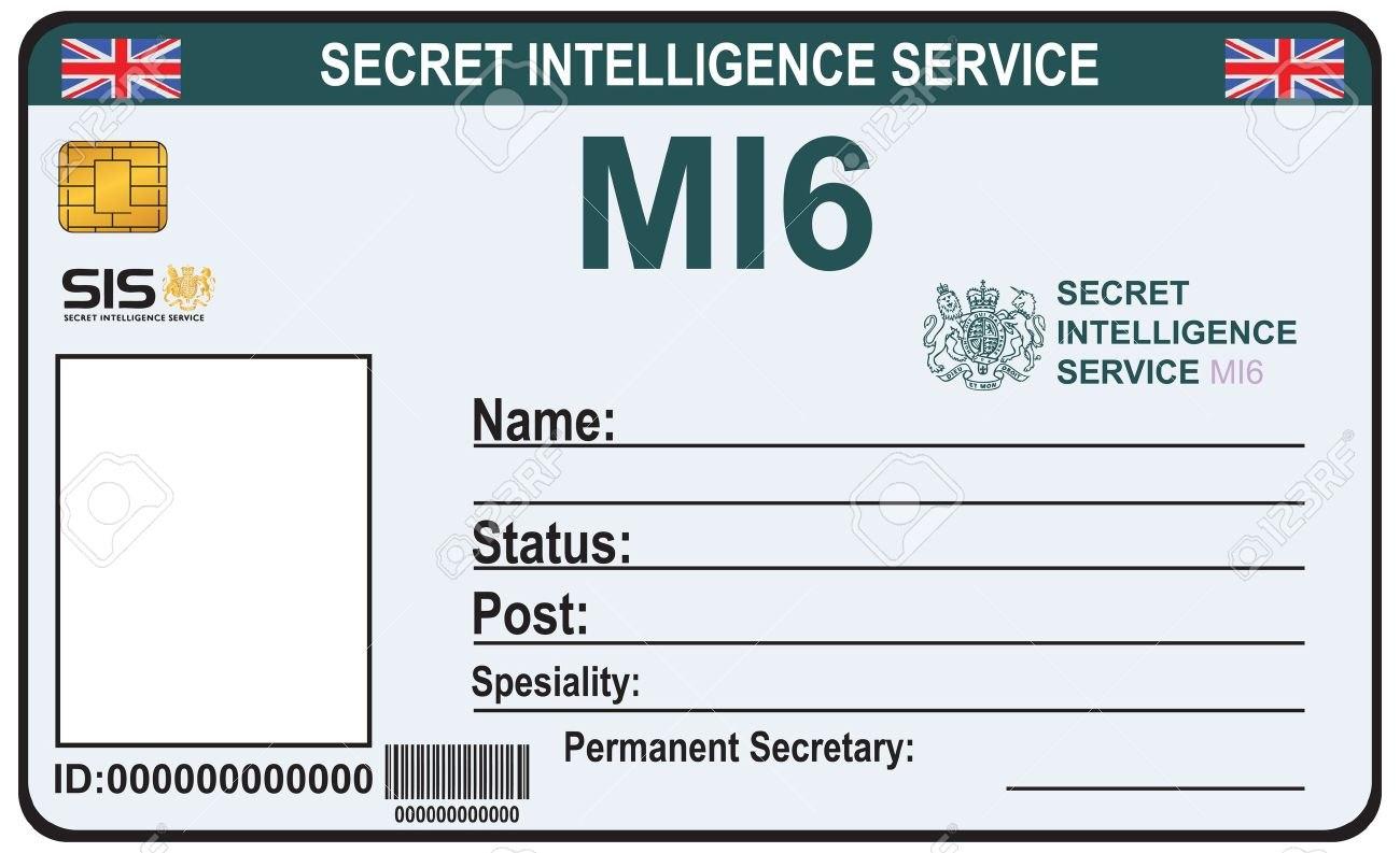 Die Identität Ein Geheimagent Des Mi  Bescheinigung Secret In Mi6 Id Card Template
