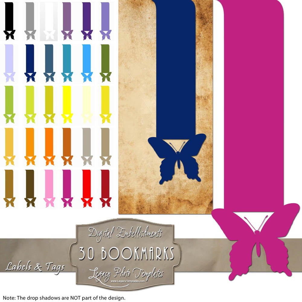 Digital Clip Art Butterfly Book Labels In Butterfly Labels Templates