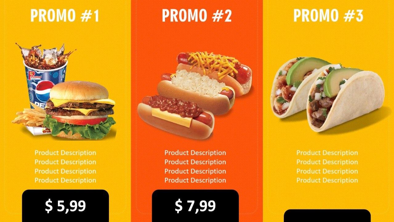 Digital Signage Powerpoint Template  Food And Restaurant  Digital Menu  Board Within Digital Menu Board Templates