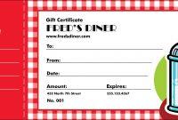 Diner Gift Certificate inside Restaurant Gift Certificate Template