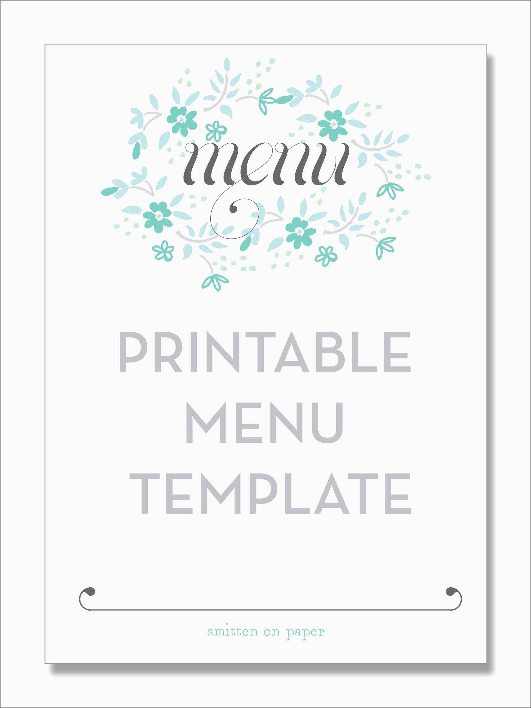 Dinner Menu Template Free Download Lovely Freebie Friday Printable In Free Printable Dinner Menu Template