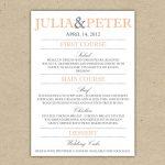 Free Printable Menu Templates For Wedding