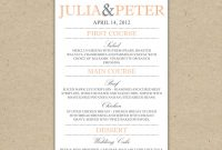 Dinner Menu Templates Free Images  Printable Weekly Dinner Menu Regarding Free Printable Menu Templates For Wedding
