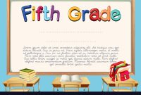 Diploma Template For Fifth Grade Students Vector Image In 5Th Grade Graduation Certificate Template