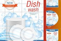 Dishwashing Liquid Products With Plates Stack In Bubbles Bottle within Bubble Bottle Label Template