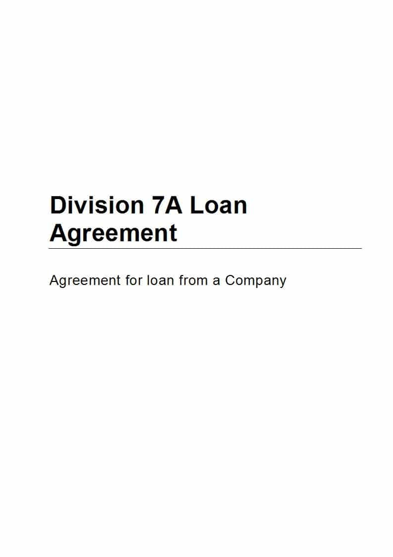 Division A Loan Agreement  Free Sample Online  Precedents Online Inside Division 7A Loan Agreement Template