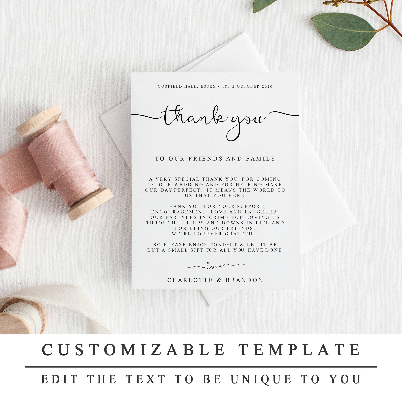 Diy Thank You Card Template Wedding Thank You Cards  Etsy Inside Template For Wedding Thank You Cards