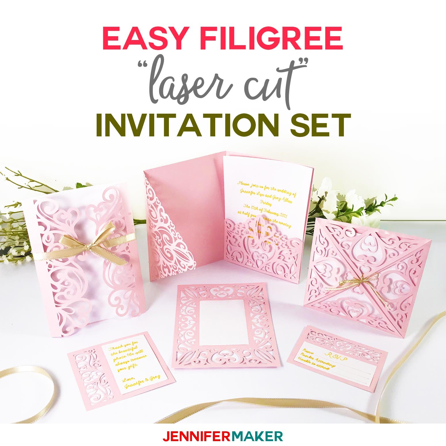 "Diy Wedding Invitation Templates  Free ""laser Cut"" Set  Jennifer Maker For Free Svg Card Templates"