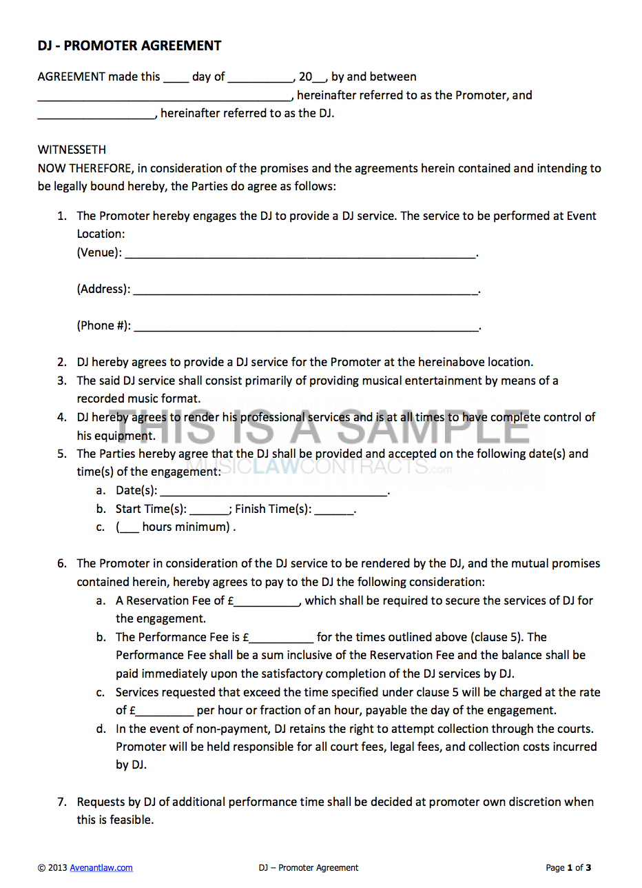 Djpromoter Contract Template For Hiring A Dj In Product Sponsorship Agreement Template